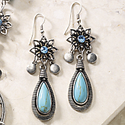 Faux Turquoise Drop Wire Earrings