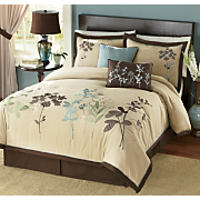 Embroidered Silhouette Comforter Set and Window Treatments