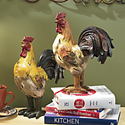 Set Of 2 Rooster Figurines