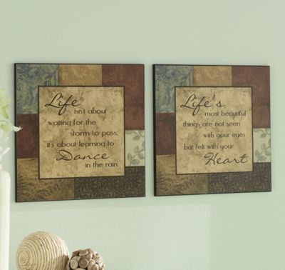 Set Of 2 Life Quote Plaques