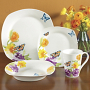 16 piece butterfly garden dinnerware set