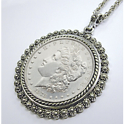 Morgan Dollar Pendant With Silvertone Bezel
