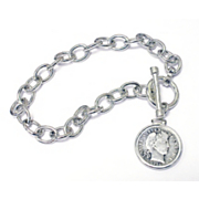 Sterling Silver Toggle Bracelet With Silver Barber Dime