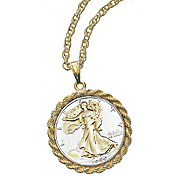 Silver Walking Liberty Pendant