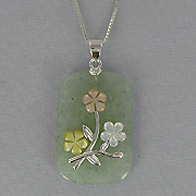 Jade Rectangular Flower Pendant