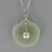 Jade and Pearl Clam Pendant