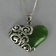 Jade Heart Scroll Pendant