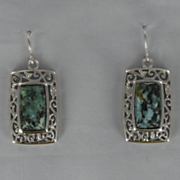 Turquoise Rectangular Scroll Earrings