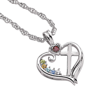 Cross Pendant Family Birthstones