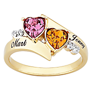 Ring Couples Heart Birthstone