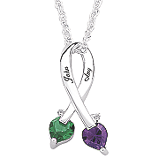 Pendant Couples Birthstone Ribbon
