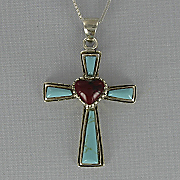 Turquoise and Coral Cross Pendant