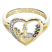 Ring Family Birthstone Lighthouse Heart