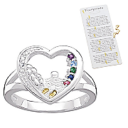 Ring Family Birthstone Footprints Heart
