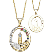 Pendant Family Birthstone Lighthouse Oval