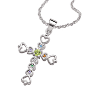 Cross Pendant Family Birthstone