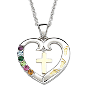 Pendant Family Birthstone Footprints Heart