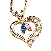 Pendant Couples Birthstone Heart