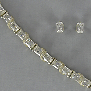 Cubic Zirconia Swirl Bracelet and Oval Posts
