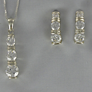 Cubic Zirconia Round 3 Stone Pendant and Earring Set