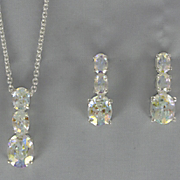 Cubic Zirconia Oval 3 Stone Pendant and Earring Set