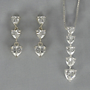 Cubic Zirconia Heart Drop Pendant and Earring Set