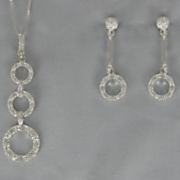 Cubic Zirconia Circle Drop Pendant and Earring Set