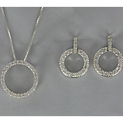 Cubic Zirconia Circle Pendant and Earring Set