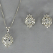 Cubic Zirconia Cluster Pendant and Earring Set