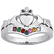 Ring Family Birthstone Claddagh