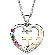Pendant Family Birthstone Heart with Cross