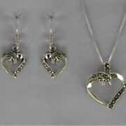 Marcasite Heart Pendant and Earrings