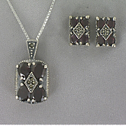 Marcasite and Onyx Pendant and Earrings