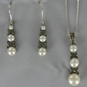 Marcasite and Fresh Water Pearl Pendant and Earrings