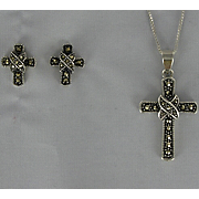 Marcasite Cross Pendant and Earrings