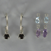 Semi precious Gem Hoop Earring Set