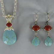 Turquoise and Coral Pendant and Earrings