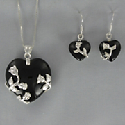 Onyx Heart Pendant & Earring Set