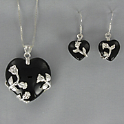 Onyx Heart Pendant and Earring Set
