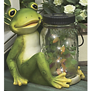Frog With Jar Of Lighted Butterflies