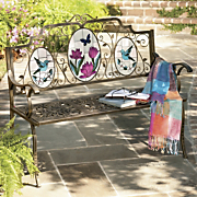 Painted Back Metal Bench