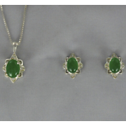 Jade Pendant and Earring Set