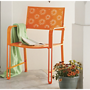 Metal Chair with Flower Cutouts