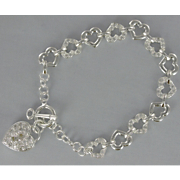 Personalized Heart Link Crystal Bracelet
