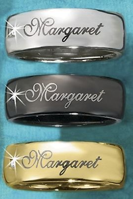 Stainless Steel Name Band With Diamond Accent