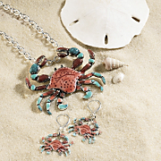 crab pin pendant earring set