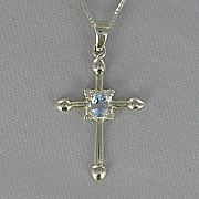 Cross Birthstone Pendant