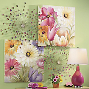 Gem Burst Art Boquet Prints Pink Lamp