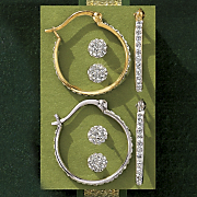 Crystal Ball Post And Hoops Set