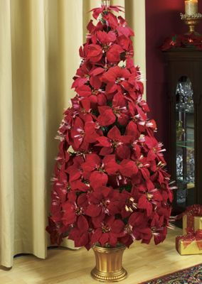 Fiber Optic Poinsettia Tree